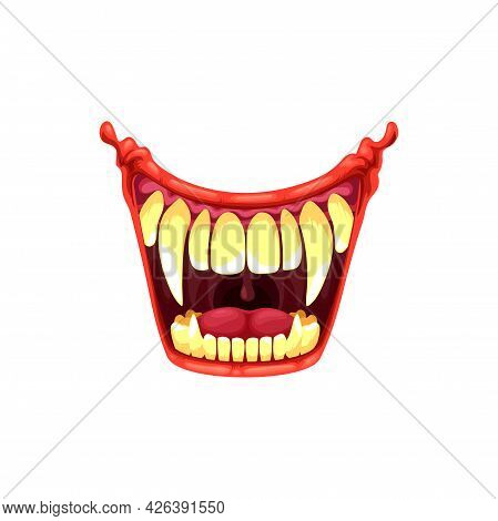 Vampire Or Clown Mouth With Fangs Vector Icon. Cartoon Monster Roar Scary Jaws With Long Pointed Tee