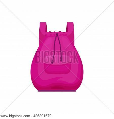 Kids Rucksack Isolated Vector Icon, Cute Pink Schoolbag With Strings. Cartoon Baby Backpack For Girl