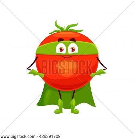 Cartoon Tomato Super Hero Isolated Vector Icon. Funny Vegetable In Cloak And Mask With Arms Akimbo.