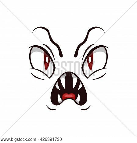 Monster Face Isolated Vector Icon, Cartoon Emoji Of Angry Demon, Halloween Spooky Creature Emotion.