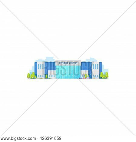 Gymnastic Activity Gym, Front View Of Beauty Center Isolated Fitness Center Facade Exterior. Vector