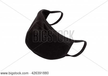 Coronavirus Pandemic. Antiviral Black Medical Mask For Protection Against Flu Diseases. Surgical Pro