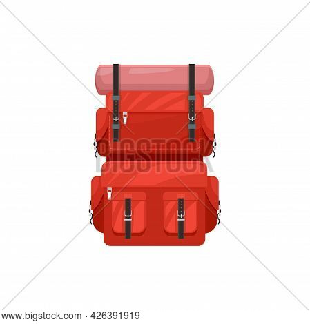 Backpack Vector Icon, Touristic Knapsack, Camping Or Hiking Rucksack. Sport Or Travel Equipment Of R