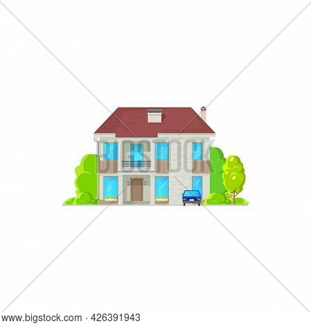 Cottage House In Cartoon Style With Balcony, Entrance Door And Windows. Vector Real Estate Property