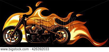 Custom Motorcycle With Flames Vector Illustration Design