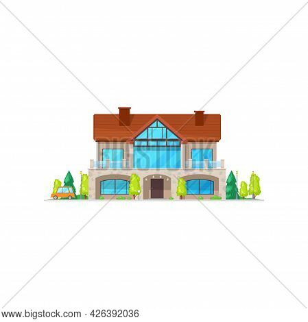 Cottage House With Chimney Pipes On Roof Isolated Home In Cartoon Style. Vector Facade Architecture