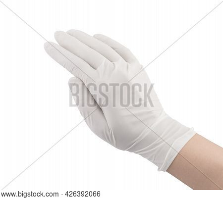 White Surgical Medical Gloves Isolated On White Background With Hands. Rubber Glove Manufacturing, H