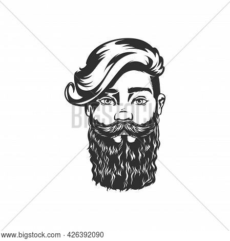 Handsome Male With Stylish Hairstyle, Brutal Hipster Portrait Isolated Monochrome Icon. Vector Gentl