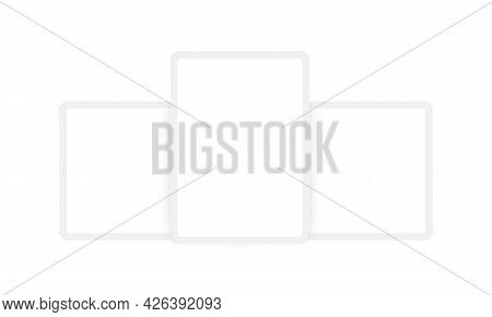Clay Tablet Computers Mockups With Vertical And Horizontal Screens, Isolated On White Background. Ve