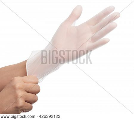 Two White Surgical Gloves Isolated On White Background With Hands. Medical Nitrile Gloves. Rubber Gl