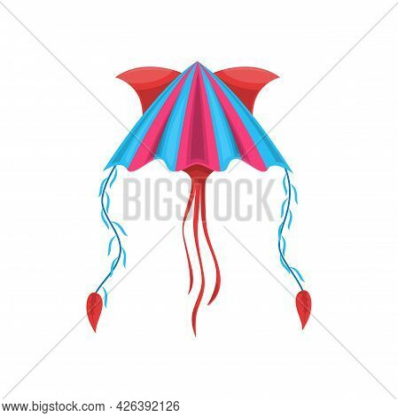 Cartoon Kite, Uttarayan International Kites Festival Symbol Isolated Icon. Vector Color Kite With St