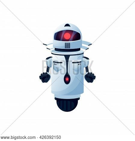 Robot Android With Hands And Interface On Head Isolated Cartoon Icon. Vector Artificial Intelligence