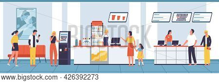 Different People Buy Tickets And Food In The Lobby Of The Cinema Vector Flat Illustration