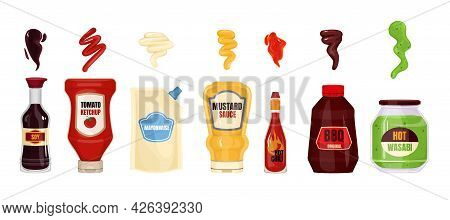 Sauce Packaging Spilled Strips Set With Composition Of Isolated Package Images Of Branded Bottles Of