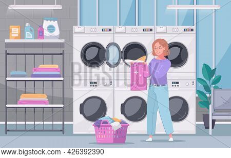Multi Housing Self Service Laundry Facility Interior View With Lady Folding Washed Clothes Flat Cart