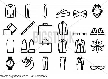 Clothes Icon Set. Bold Outline Design With Editable Stroke Width. Vector Illustration.