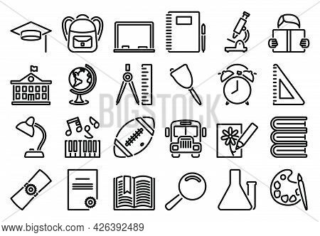 Education Icon Set. Bold Outline Design With Editable Stroke Width. Vector Illustration.