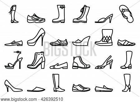 Footwear Icon Set. Bold Outline Design With Editable Stroke Width. Vector Illustration.