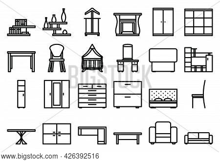 Furniture Icon Set. Bold Outline Design With Editable Stroke Width. Vector Illustration.