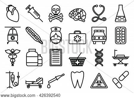 Medical Icon Set. Bold Outline Design With Editable Stroke Width. Vector Illustration.