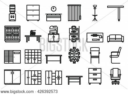 Office Icon Set. Bold Outline Design With Editable Stroke Width. Vector Illustration.