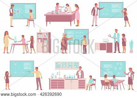 Set Of School Sciences Mathematics Chemistry Physics Flat Compositions Of Classroom Furniture With T