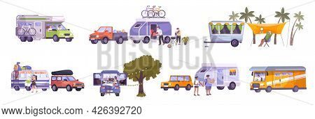 Flat Set With Campers Travelling By Motor Home Trailer Resting Spending Time Outdoors Isolated Vecto