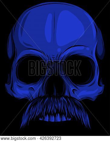 Vector Illustration Of Human Skull With Moustache