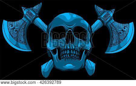 Vector Illustration Of Human Skull With Ax