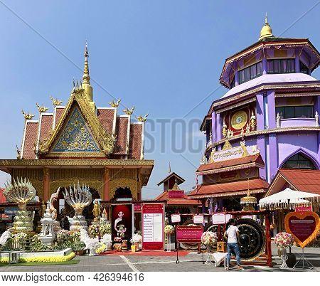 Mae Sai, Chiang Rai Province, Thailand - February 19, 2019: Wat Phra That Doi Wao In The Mae Sai Bor