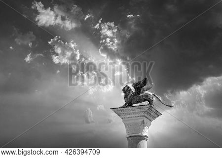 Lion Statue At Piazza San Marco (st Mark`s Square) On Blue Sky Background, Venice, Italy. This Place
