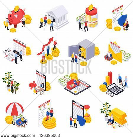 Retirement Preparation Plan Isometric Set Of Isolated Money Icons Contracts Calendars With Character