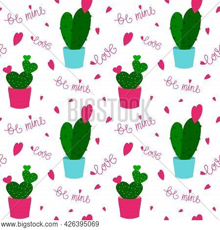 Pattern With Succulents, Hearts And Text. Vector Illustration Isolated On White Background. For Prin