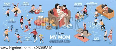 Motherhood Isometric Infographic Set With Family And Pastime Symbols Vector Illustration