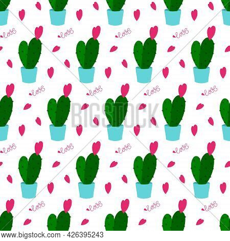 Pattern With Green Cacti In Blue Pots. Text And Small Pink Hearts For Valentines Day. Vector Illustr