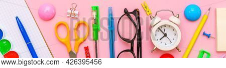 School Notebook And Various Office Supplies. Back To School Concept. Bright School Supplies On A Pin