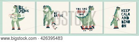 Set Of Dinosaur Dino Cards. Childish Card Or Poster With Cute Baby Dino Character With Skateboard. F