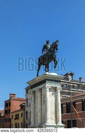 Equestrian Statue From The 15th Century Of Bartolomeo Colleoni Is A Renaissance Sculpture In Campo S