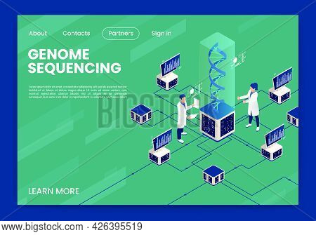 Genetic Engineering Isometric Page Design With Genome Sequencing Symbols Vector Illustration