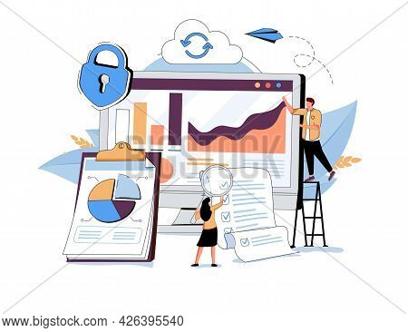 People In Team Analyze Dioramas And Graphics, Data Visualization Concept, Vector Illustration. Cloud