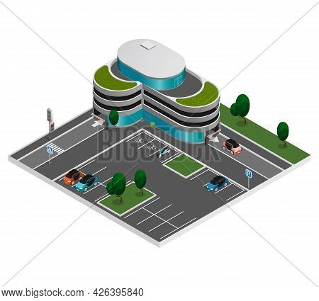 Isometric City Constructor Elements Composition Street Parking And Nearby Building With Multi Level