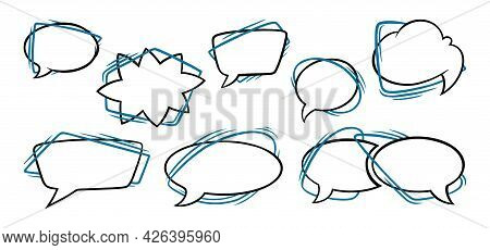 Speech Bubbles In Oval, Rectangular And Star Shapes. Outline Speech Boxes Isolated In White Backgrou