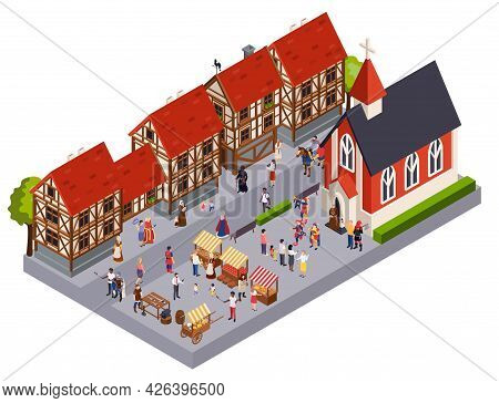 Medieval Town Architecture Isometric Concept With Marketplace Church And House Vector Illustraion