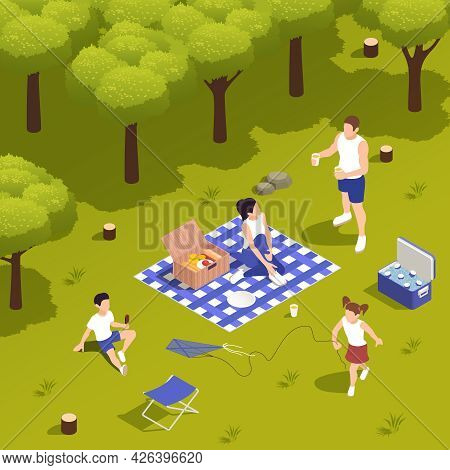 Family Picnic On Grass With Cooling Box Food Basket Playing Kids Talking Parents Tablecloth Isometri