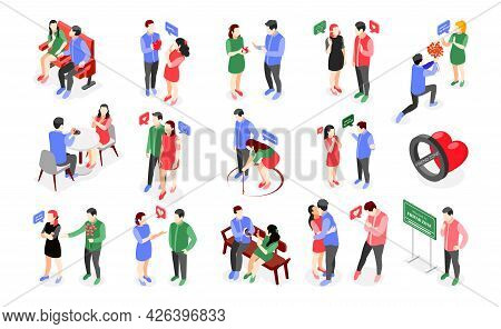 Friendzone Isometric Icons Collection With Isolated Human Characters Of Male And Female Lovers Havin