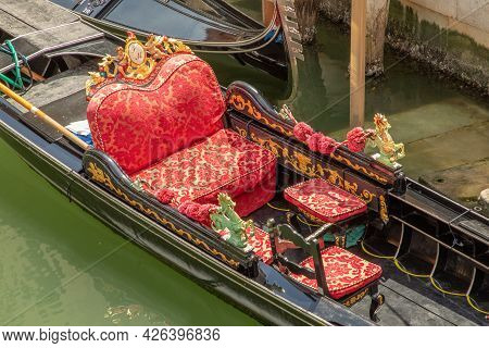 Detail Of Seat Of Gondola In Venice, Italy