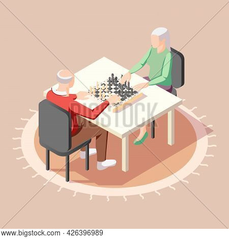 Two Elderly Male Characters Playing Chess Sitting At Table Indoors Isometric Background Vector Illus
