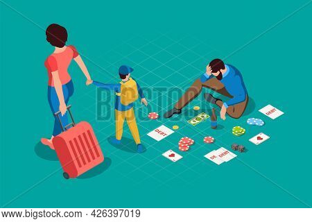 Casino Isometric Background With Father Oppressed By Losing And Mother Leaving With Suitcase And Hol