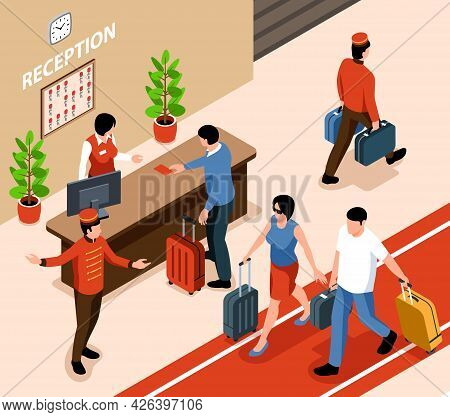 Hotel Reception Interior Desk Human Characters Of Visitors And Staff Isometric Vector Illustration