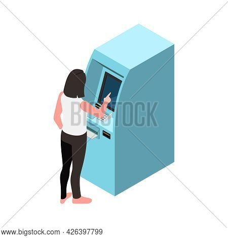Touch Screen Interface Icon With Woman Using Atm 3d Vector Illustration